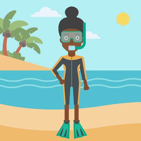 flippers: An african-american woman in diving suit, flippers, mask and tube standing on the beach. Female scuba diver on the beach. Woman enjoying snorkeling. Vector flat design illustration. Square layout. Illustration