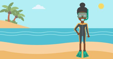 An african-american woman in diving suit, flippers, mask and tube standing on the beach. Female scuba diver on the beach. Woman enjoying snorkeling. Vector flat design illustration. Horizontal layout.