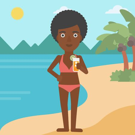 An african-american woman holding an orange cocktail on the beach. Woman drinking a cocktail on the beach. Woman enjoying her vacation. Vector flat design illustration. Square layout.