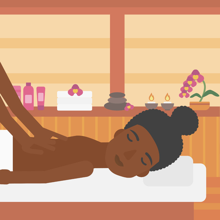 topless women: An african-american woman getting a back massage on the background of spa center. An african-american woman having back massage in the spa salon. Vector flat design illustration. Square layout.