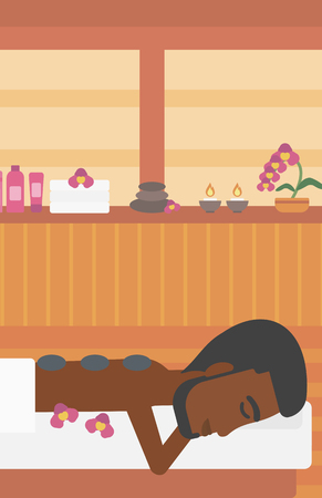 hot stone massage: An african-american man relaxing while getting stone therapy massage in the spa center. Man having back massage in spa salon. Vector flat design illustration. Vertical layout.
