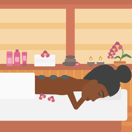 An african-american woman relaxing while getting stone therapy massage in the spa center. Woman having back massage in the spa salon. Vector flat design illustration. Square layout. Illustration