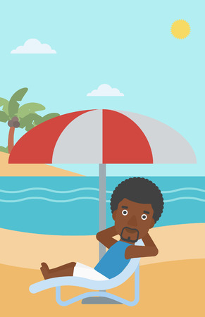 An african-american man sitting in a chaise longue on the beach. An african-american man relaxing while sitting under umbrella on the beach. Vector flat design illustration. Vertical layout. Vettoriali