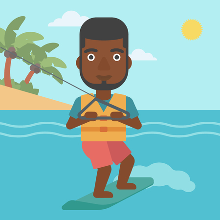 watersport: An african-american sportsman wakeboarding on the sea. Wakeboarder making tricks. Man studying wakeboarding. Man riding wakeboard. Vector flat design illustration. Square layout.