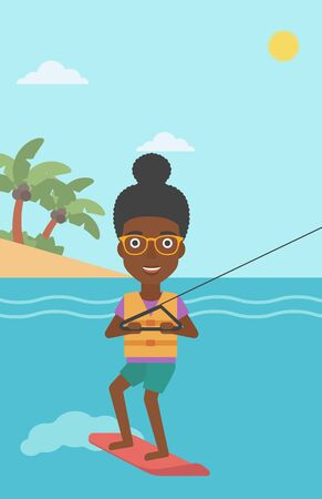 wakeboarding: An african-american sports woman wakeboarding on the sea. Wakeboarder making tricks. Woman studying wakeboarding. Young woman riding wakeboard. Vector flat design illustration. Vertical layout.