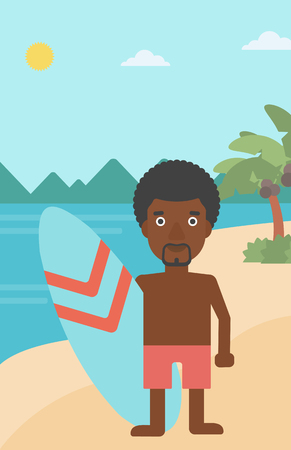 surf board: An african-american sportsman standing with a surfboard on the beach. Professional surfer with a surf board at the beach. Vector flat design illustration. Vertical layout. Illustration