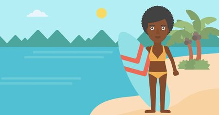 surf board: An african-american female surfer standing with a surfboard on the beach. Female professional surfer with a surf board at the beach. Vector flat design illustration. Horizontal layout.