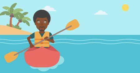 kayaker: An african-american sportsman riding in a kayak in the sea. Young man traveling by kayak. Male kayaker paddling. Man paddling a canoe. Vector flat design illustration. Horizontal layout.