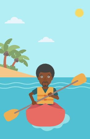 kayaker: An african-american sportsman riding in a kayak in the sea. Young man traveling by kayak. Male kayaker paddling. Man paddling a canoe. Vector flat design illustration. Vertical layout.