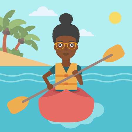 kayaker: An african-american sports woman riding in a kayak in the sea. Young woman traveling by kayak. Female kayaker paddling. Woman paddling a canoe. Vector flat design illustration. Square layout. Illustration