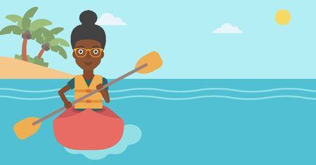An african-american sports woman riding in a kayak in the sea. Young woman traveling by kayak. Female kayaker paddling. Woman paddling a canoe. Vector flat design illustration. Horizontal layout.