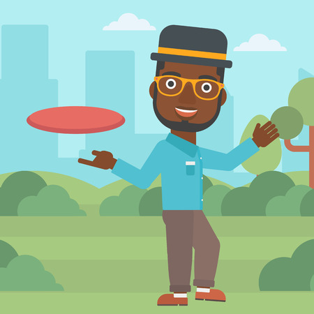 flying man: An african-american man playing flying disc in the park. Man throwing a flying disc. Sportsman catching flying disc outdoors. Vector flat design illustration. Square layout. Illustration
