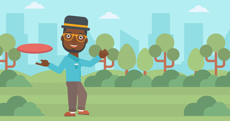 flying man: An african-american man playing flying disc in the park. Man throwing a flying disc. Sportsman catching flying disc outdoors. Vector flat design illustration. Horizontal layout.
