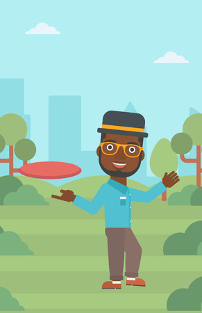 flying man: An african-american man playing flying disc in the park. Man throwing a flying disc. Sportsman catching flying disc outdoors. Vector flat design illustration. Vertical layout.