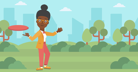 woman throwing: An african-american woman playing flying disc in the park. Young woman throwing a flying disc. Sportswoman catching flying disc outdoors. Vector flat design illustration. Horizontal layout.