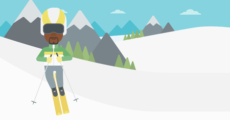 downhill skiing: An african-american sportsman skiing on the background of snow capped mountain. Skier skiing downhill in mountains. Male skier on downhill slope. Vector flat design illustration. Horizontal layout.