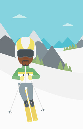 snow capped mountain: An african-american sportsman skiing on the background of snow capped mountain. Skier skiing downhill in mountains. Male skier on downhill slope. Vector flat design illustration. Vertical layout.