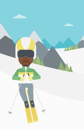 Un sportif ski afro-américaine sur fond de sommets enneigés de montagne. Skier ski alpin dans les montagnes. skieur sur piste de descente. Vector design plat illustration. Présentation verticale. Banque d'images - 59683412