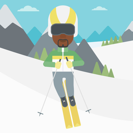 snow capped mountain: An african-american sportsman skiing on the background of snow capped mountain. Skier skiing downhill in mountains. Male skier on downhill slope. Vector flat design illustration. Square layout.