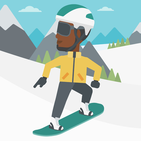 snow capped: An african-american sportsman snowboarding on the background of snow capped mountain. Young man snowboarding in the mountains. Vector flat design illustration. Square layout.