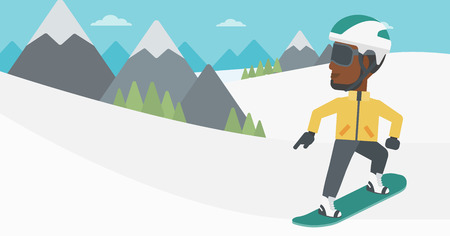 An african-american sportsman snowboarding on the background of snow capped mountain. Young man snowboarding in the mountains. Vector flat design illustration. Horizontal layout.