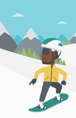 snow capped: An african-american sportsman snowboarding on the background of snow capped mountain. Young man snowboarding in the mountains. Vector flat design illustration. Vertical layout.
