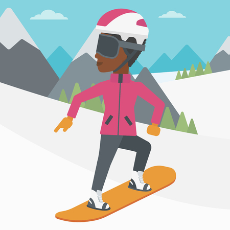 snow capped: An african-american sportswoman snowboarding on the background of snow capped mountain. Woman snowboarding in the mountains. Snowboarder in action. Vector flat design illustration. Square layout. Illustration