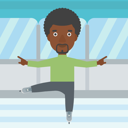 male figure: An african-american figure skater with the beard performing on indoor ice skating rink. Young hipster male figure skater dancing. Vector flat design illustration. Square layout.