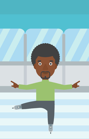 male figure: An african-american figure skater with the beard performing on indoor ice skating rink. Young hipster male figure skater dancing. Vector flat design illustration. Vertical layout.