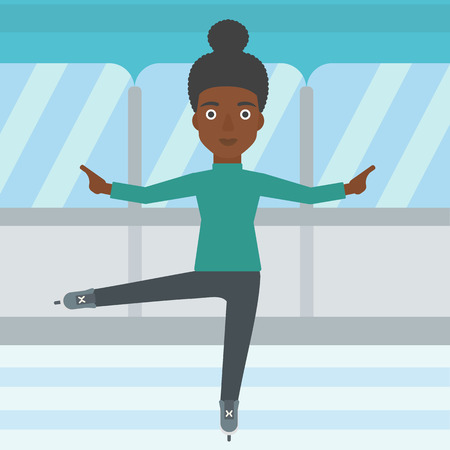 skating rink: An african-american female figure skater performing on indoor ice skating rink. Young female figure skater dancing. Vector flat design illustration. Square layout. Illustration