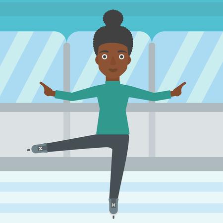figure skater: An african-american female figure skater performing on indoor ice skating rink. Young female figure skater dancing. Vector flat design illustration. Square layout. Illustration