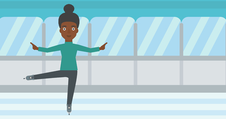 skating rink: An african-american female figure skater performing on indoor ice skating rink. Young female figure skater dancing. Vector flat design illustration. Horizontal layout.
