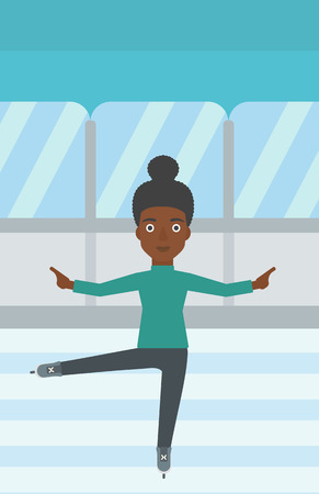 iceskating: An african-american female figure skater performing on indoor ice skating rink. Young female figure skater dancing. Vector flat design illustration. Vertical layout. Illustration