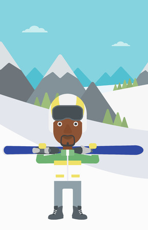 snow capped: An african-american sportsman carrying skis on his shoulders on the background of snow capped mountains. Vector flat design illustration. Vertical layout. Illustration