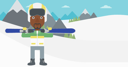 snow capped: An african-american sportsman carrying skis on his shoulders on the background of snow capped mountains. Vector flat design illustration. Horizontal layout. Illustration