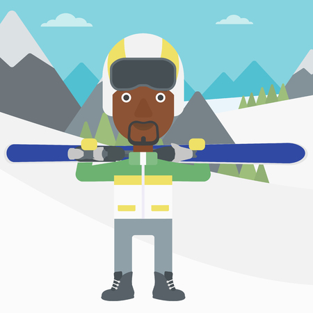 snow capped: An african-american sportsman carrying skis on his shoulders on the background of snow capped mountains. Vector flat design illustration. Square layout.