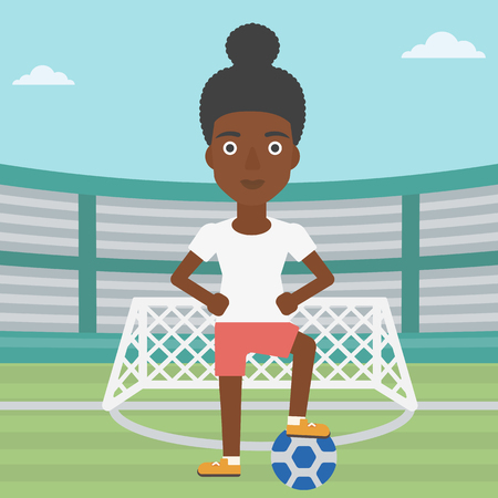 sportswoman: An african-american sportswoman standing with football ball on the football stadium. Professional football player with a soccer ball on the field. Vector flat design illustration. Square layout.