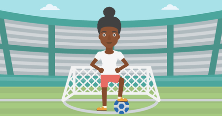 sportswoman: An african-american sportswoman standing with football ball on the football stadium. Professional football player with a soccer ball on the field. Vector flat design illustration. Horizontal layout.