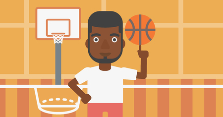 An african-american sportsman spinning basketball ball on his finger. Young basketball player standing on the basketball court. Vector flat design illustration. Horizontal layout.