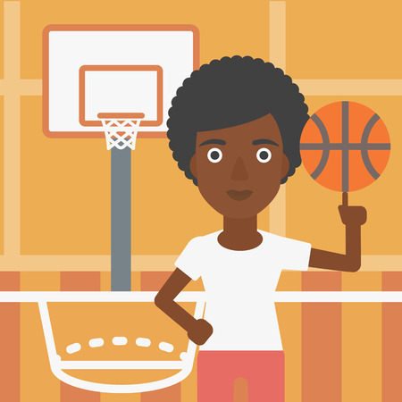 sportswoman: An african-american sportswoman spinning basketball ball on her finger. Young basketball player standing on the basketball court. Vector flat design illustration. Square layout.