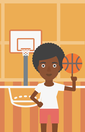 sportswoman: An african-american sportswoman spinning basketball ball on her finger. Young basketball player standing on the basketball court. Vector flat design illustration. Vertical layout.