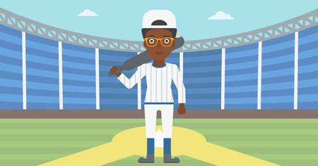 An african-american female baseball player standing on a baseball stadium. Female professional baseball player holding a bat on baseball field. Vector flat design illustration. Horizontal layout.