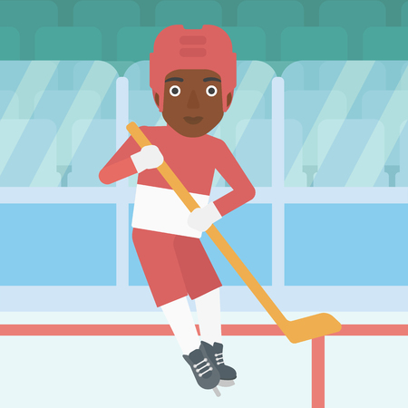 ice hockey player: An african-american female ice hockey player skating on ice rink. Professional ice hockey player with a stick. Sportswoman playing ice hockey. Vector flat design illustration. Square layout.