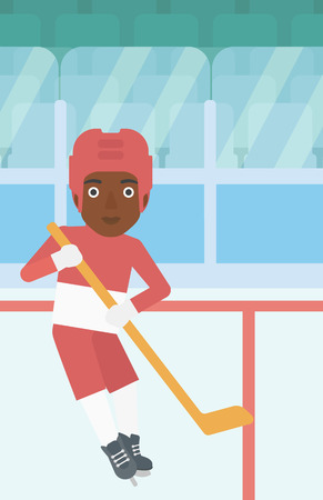 An african-american female ice hockey player skating on ice rink. Professional ice hockey player with a stick. Sportswoman playing ice hockey. Vector flat design illustration. Vertical layout.