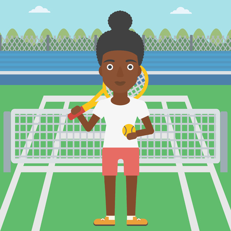 An african-american female tennis player standing on the tennis court. Tennis player holding a tennis racket and a ball. Young woman playing tennis. Vector flat design illustration. Square layout. 向量圖像