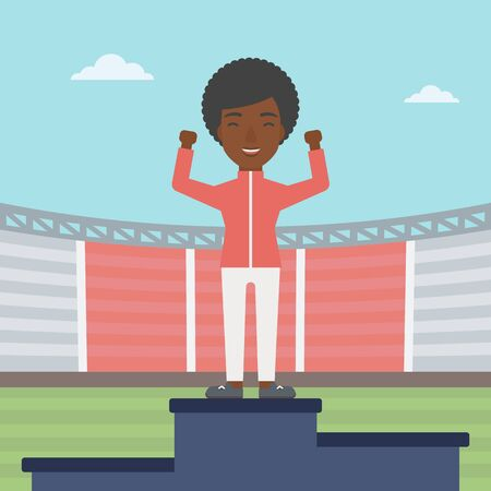 sportswoman: An african-american sportswoman celebrating on the winners podium. Sportswoman standing on the first place on the winners podium with raised hands. Vector flat design illustration. Square layout.