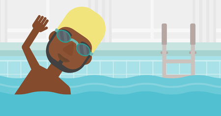 swimming cap: An african-american sportsman with the beard wearing cap and glasses swimming in pool. Professional male swimmer in swimming pool. Vector flat design illustration. Horizontal layout.