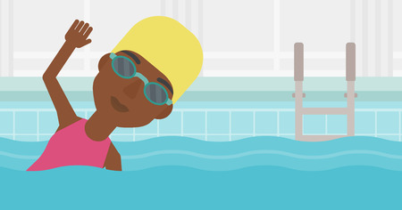 swimming cap: An african-american sportswoman wearing cap and glasses swimming in pool. Professional female swimmer in swimming pool. Vector flat design illustration. Horizontal layout. Illustration
