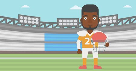 rugby field: An african-american rugby player with the beard holding ball and helmet in hands. Male rugby player in uniform standing on rugby stadium. Vector flat design illustration. Horizontal layout.