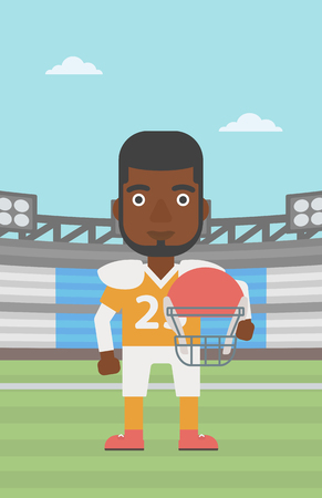 rugby player: An african-american rugby player with the beard holding ball and helmet in hands. Male rugby player in uniform standing on rugby stadium. Vector flat design illustration. Vertical layout.